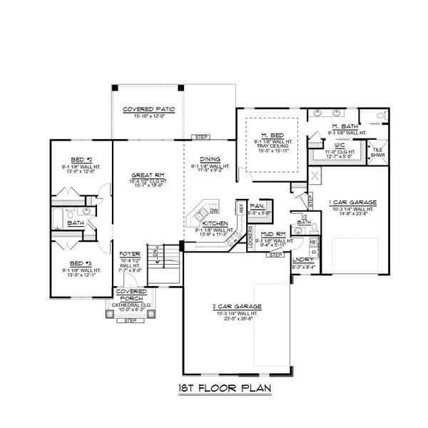 Dream House Plan - Craftsman Floor Plan - Main Floor Plan #1064-66