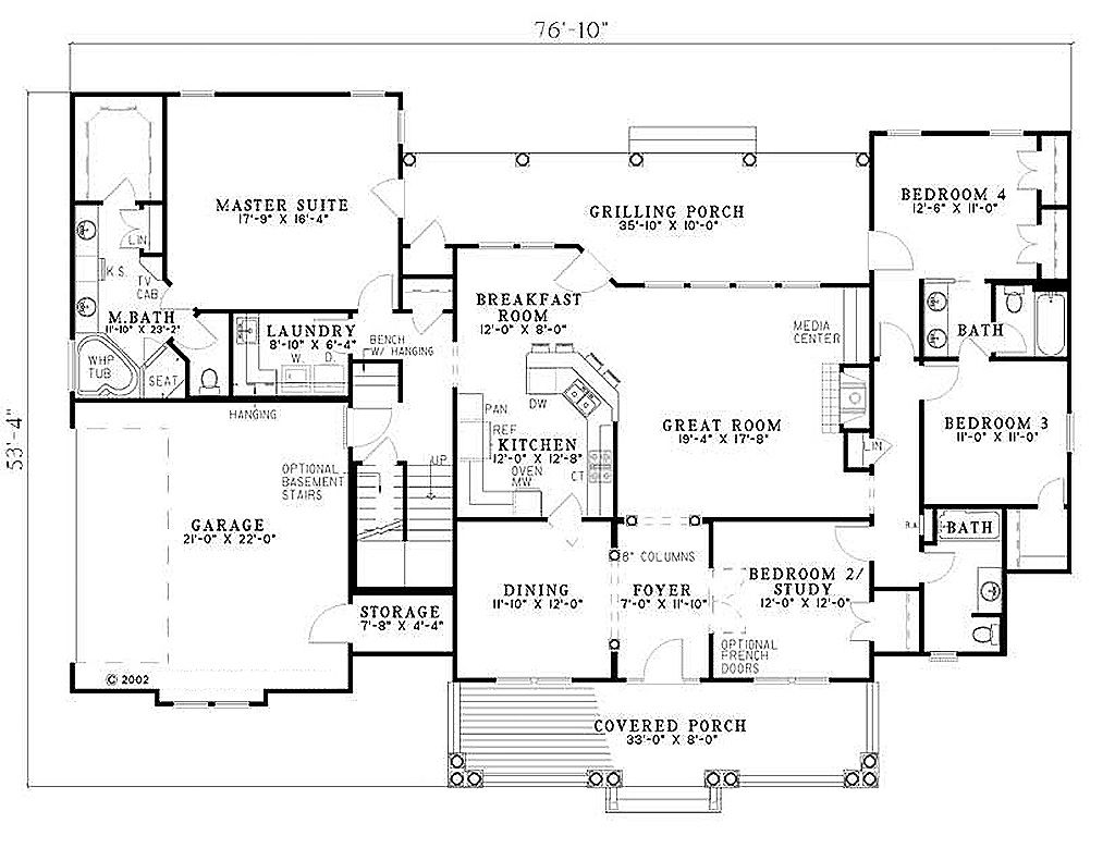 Southern Style House Plan - 4 Beds 3 Baths 2373 Sq/Ft Plan ...