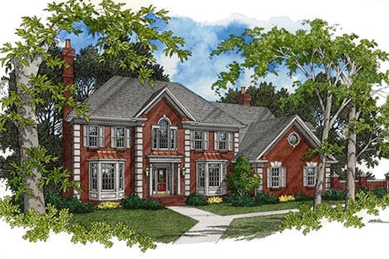 European Exterior - Front Elevation Plan #56-221