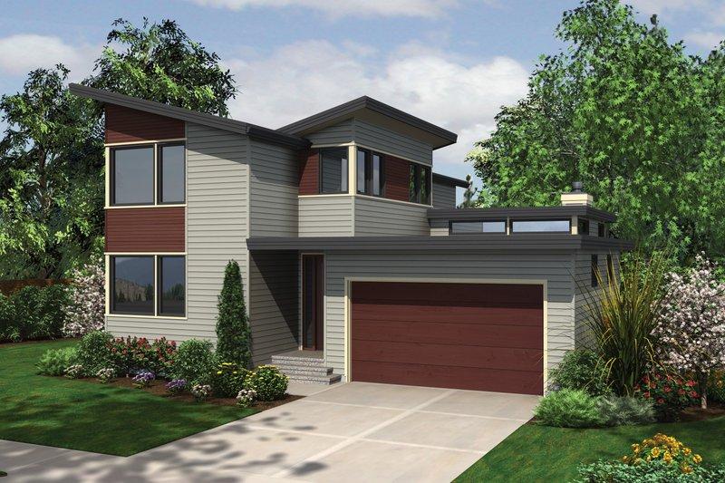Modern Exterior - Front Elevation Plan #48-637