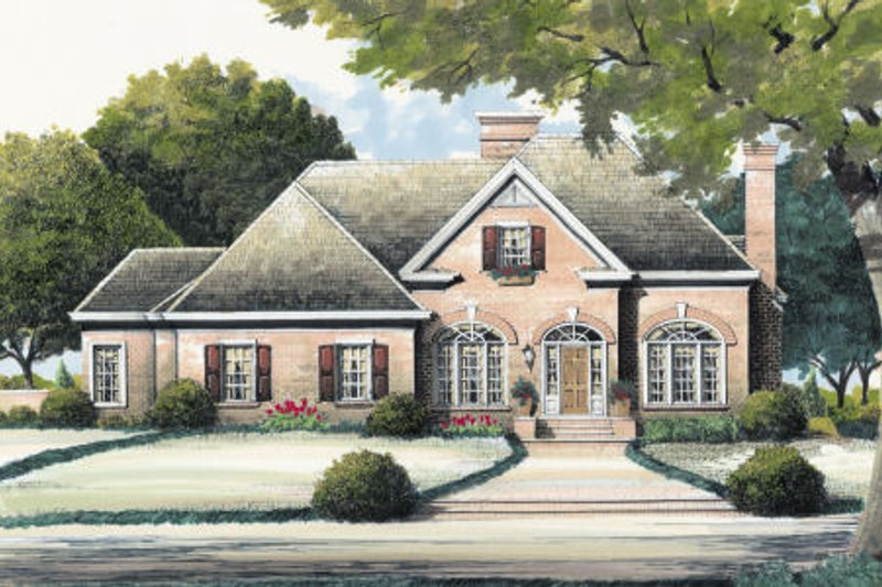 Traditional Style House Plan - 3 Beds 3 Baths 2120 Sq/Ft Plan #429-29 Exterior - Front Elevation