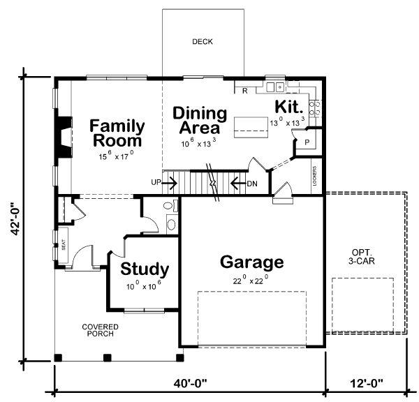 House Plan Design - Craftsman Floor Plan - Main Floor Plan #20-2345