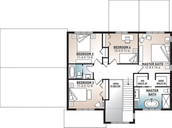 Craftsman Floor Plan - Upper Floor Plan Plan #23-2724