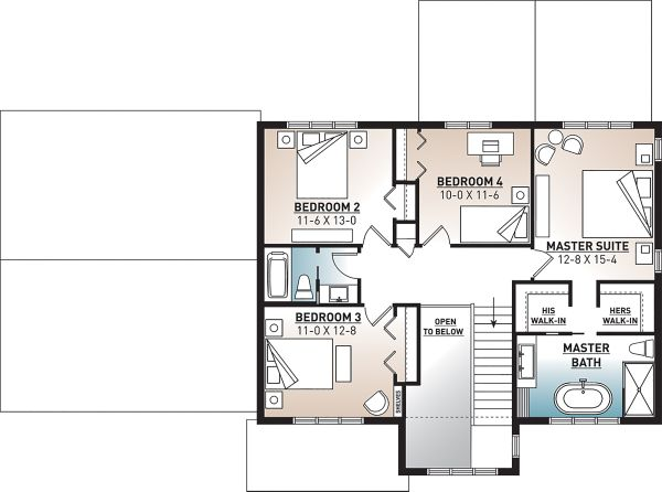 Craftsman Floor Plan - Upper Floor Plan #23-2724