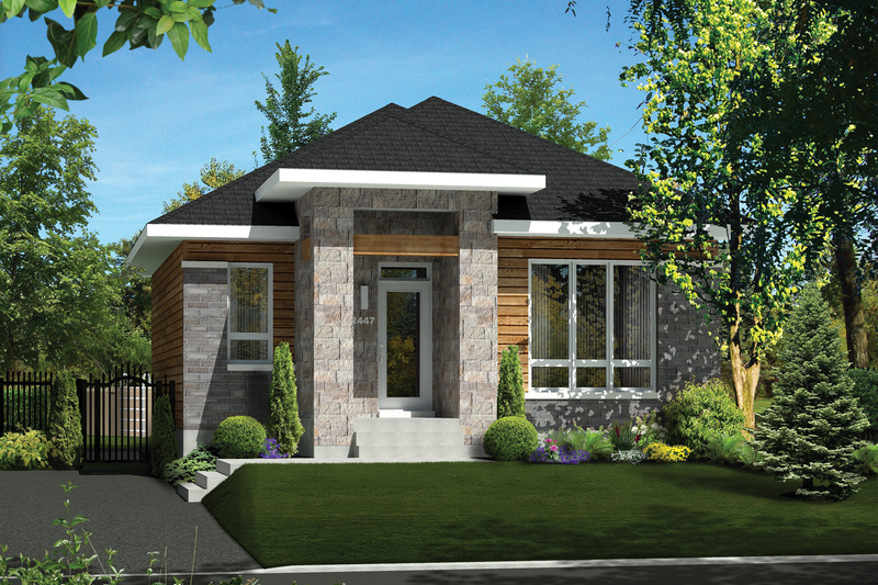 Contemporary Style House Plan - 3 Beds 2 Baths 1884 Sq/Ft Plan #25-4538 Exterior - Front Elevation