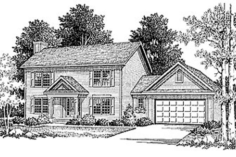Colonial Style House Plan - 3 Beds 2.5 Baths 1553 Sq/Ft Plan #70-150 Exterior - Front Elevation