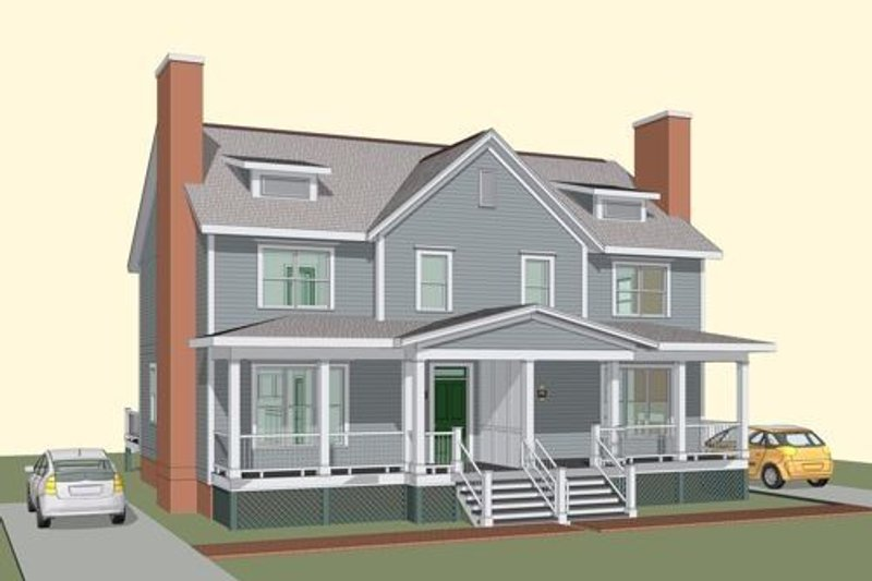 Traditional Style House Plan - 3 Beds 1.5 Baths 2570 Sq/Ft Plan #79-243 Exterior - Front Elevation