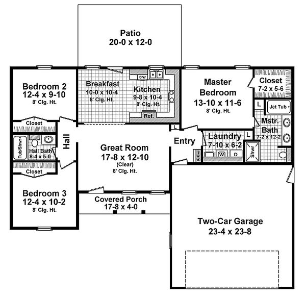 Home Plan Design - Ranch Floor Plan - Main Floor Plan #21-342