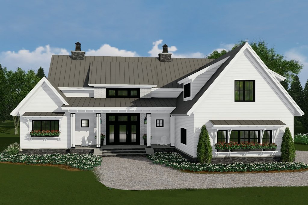 Farmhouse Style House Plan 4 Beds 3 5 Baths 2528 Sq Ft