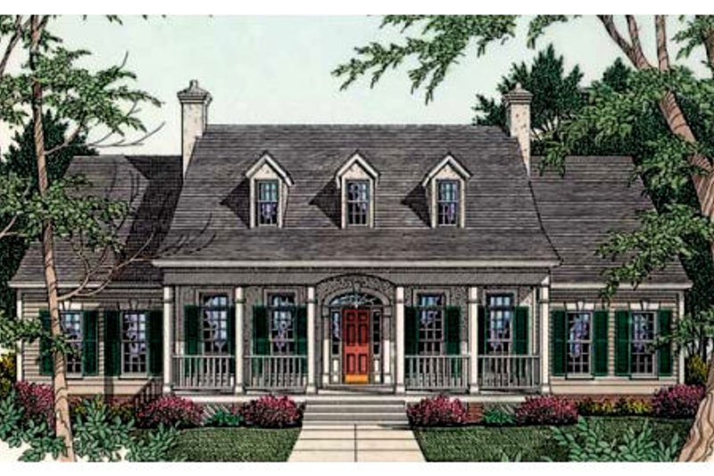 Southern Exterior - Front Elevation Plan #406-110 - Houseplans.com