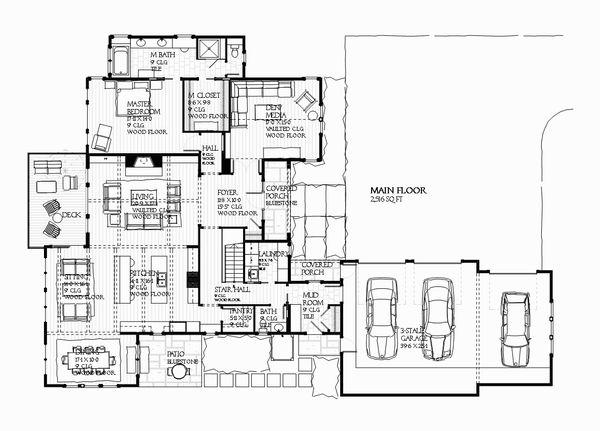 Country Floor Plan - Main Floor Plan #901-105