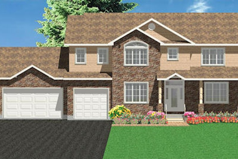 Traditional Style House Plan - 3 Beds 2.5 Baths 2599 Sq/Ft Plan #414-122 Exterior - Front Elevation