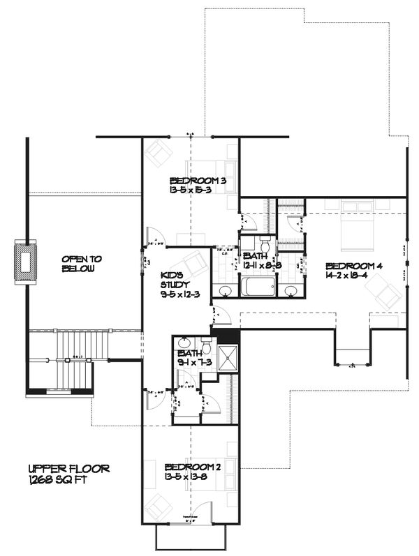 Country Style House Plan - 4 Beds 3.5 Baths 3086 Sq/Ft Plan #901-1 Floor Plan - Upper Floor Plan