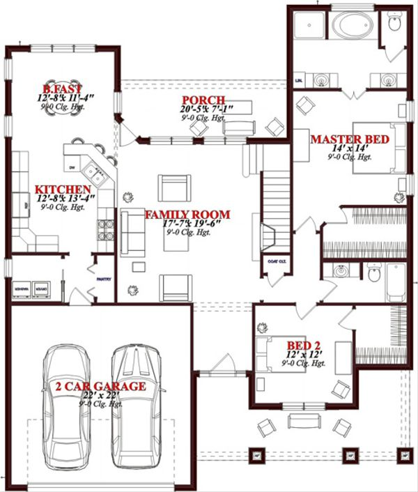 European Floor Plan - Main Floor Plan Plan #63-316