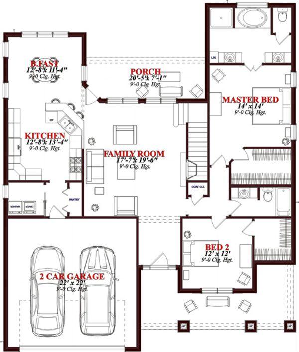 European Floor Plan - Main Floor Plan Plan #63-316