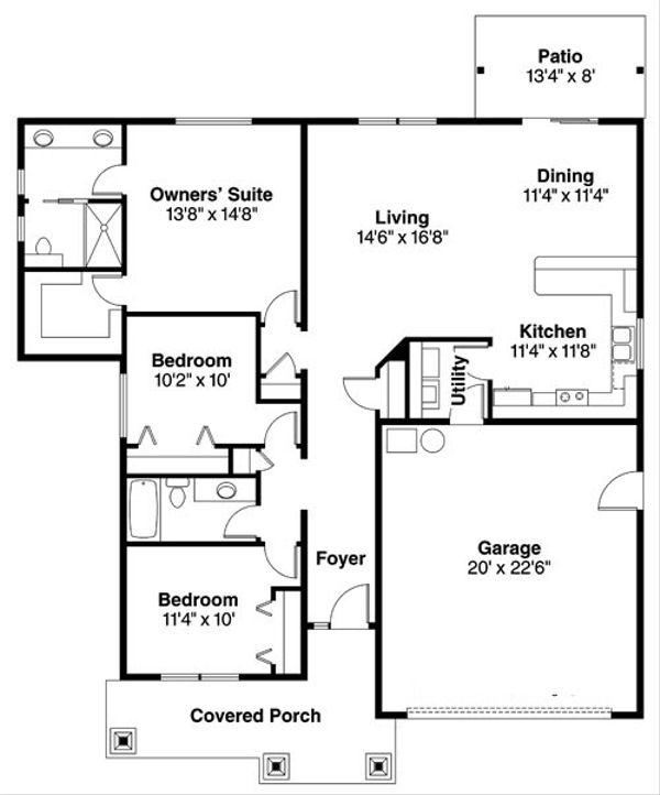 Craftsman Floor Plan - Main Floor Plan Plan #124-781