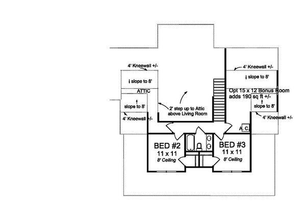 Farmhouse Floor Plan - Upper Floor Plan Plan #513-2184