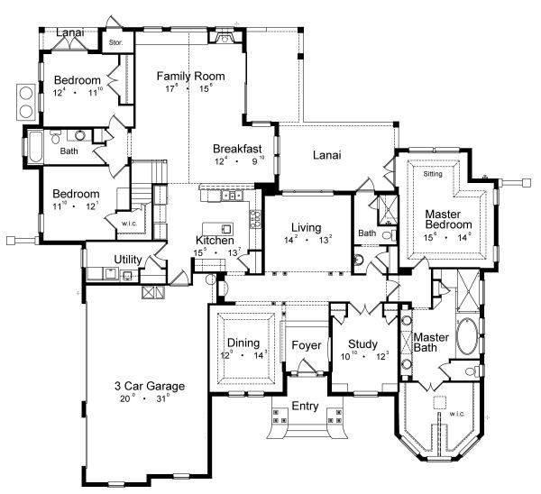 Traditional Floor Plan - Main Floor Plan Plan #417-358