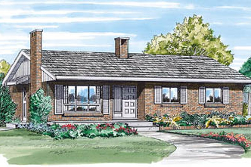 Ranch Style House Plan - 3 Beds 1 Baths 1054 Sq/Ft Plan #47-136