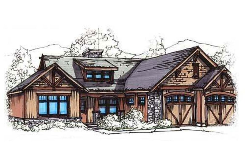 Craftsman Style House Plan - 3 Beds 2 Baths 1485 Sq/Ft Plan #17-2217 Exterior - Front Elevation