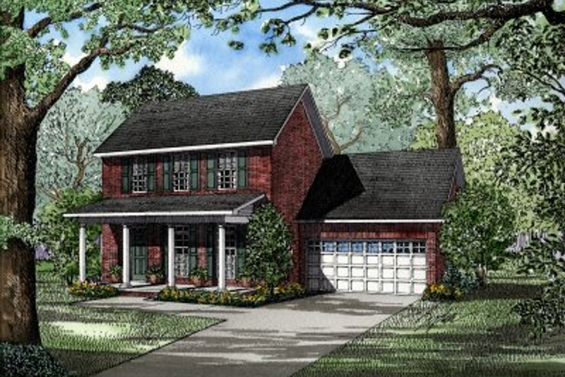 Traditional Style House Plan - 3 Beds 2.5 Baths 1595 Sq/Ft Plan #17-264 Exterior - Front Elevation