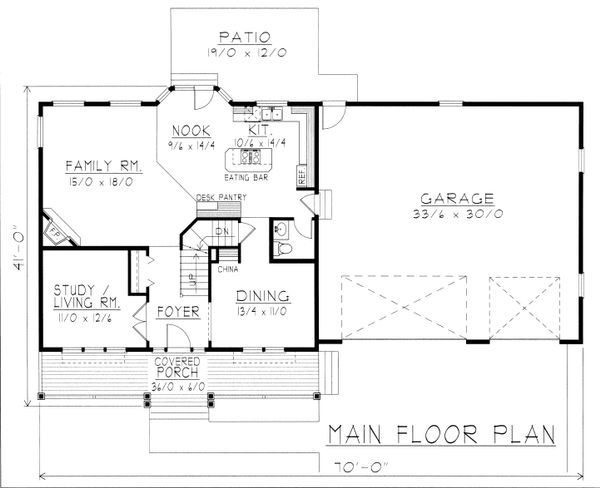 Farmhouse Floor Plan - Main Floor Plan Plan #112-165