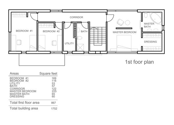 Modern Floor Plan - Upper Floor Plan Plan #552-3