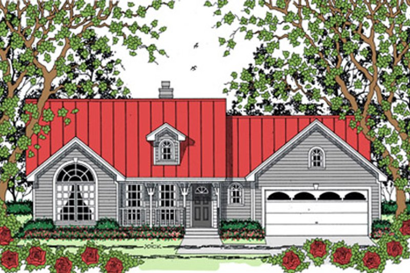 Farmhouse Style House Plan - 3 Beds 2 Baths 1354 Sq/Ft Plan #42-403 Exterior - Front Elevation