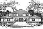Mediterranean Style House Plan - 4 Beds 4 Baths 4939 Sq/Ft Plan #472-20 Exterior - Front Elevation