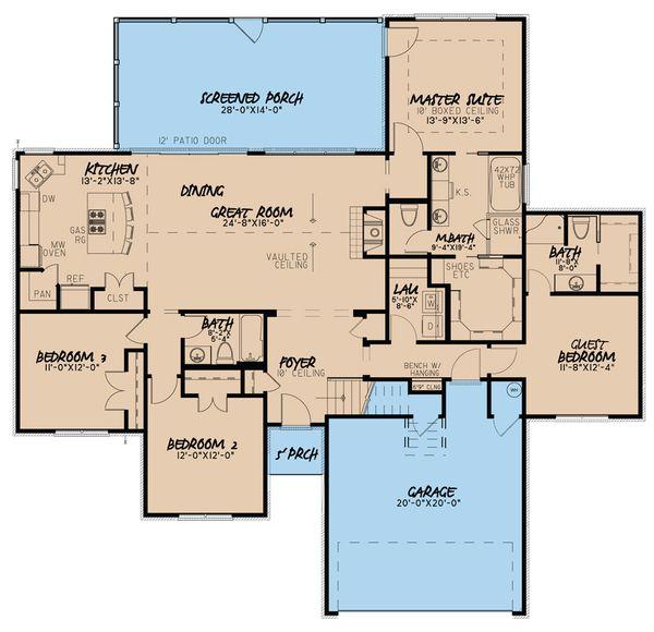 Traditional Floor Plan - Main Floor Plan Plan #923-37