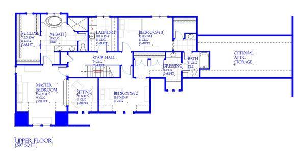 European Style House Plan - 3 Beds 2.5 Baths 3546 Sq/Ft Plan #901-143 Floor Plan - Upper Floor Plan