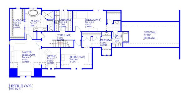 European Floor Plan - Upper Floor Plan #901-143