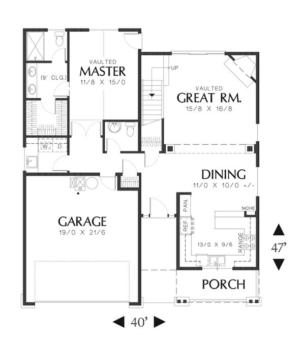 Craftsman Floor Plan - Main Floor Plan Plan #48-609
