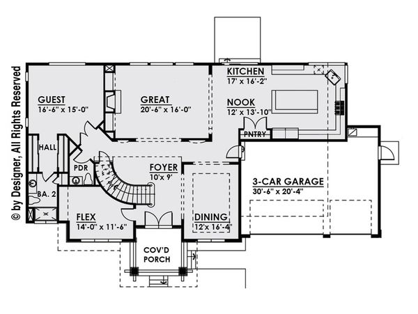 Contemporary Floor Plan - Main Floor Plan Plan #1066-14
