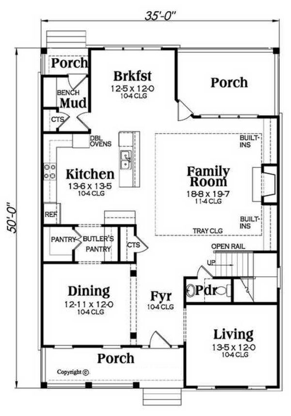 Home Plan - Southern Floor Plan - Main Floor Plan #419-315