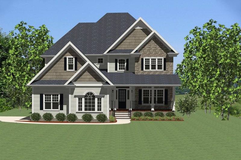 Traditional Style House Plan - 3 Beds 2.5 Baths 2078 Sq/Ft Plan #898-15 Exterior - Front Elevation