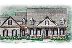 House Blueprint - Southern Exterior - Front Elevation Plan #54-114