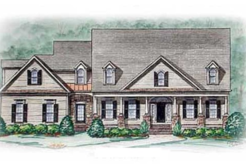 Southern Exterior - Front Elevation Plan #54-114