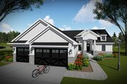 Ranch Style House Plan - 3 Beds 2 Baths 1837 Sq/Ft Plan #70-1477 Exterior - Front Elevation