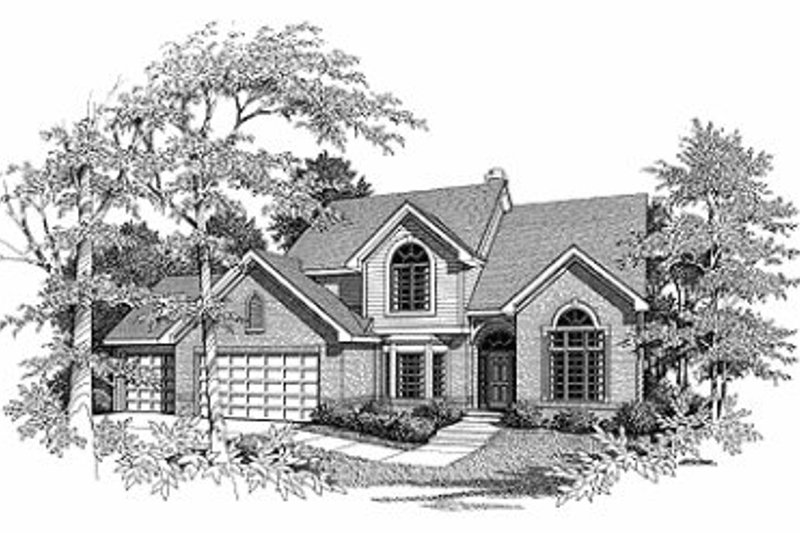 Traditional Style House Plan - 4 Beds 2.5 Baths 2800 Sq/Ft Plan #70-449 Exterior - Front Elevation