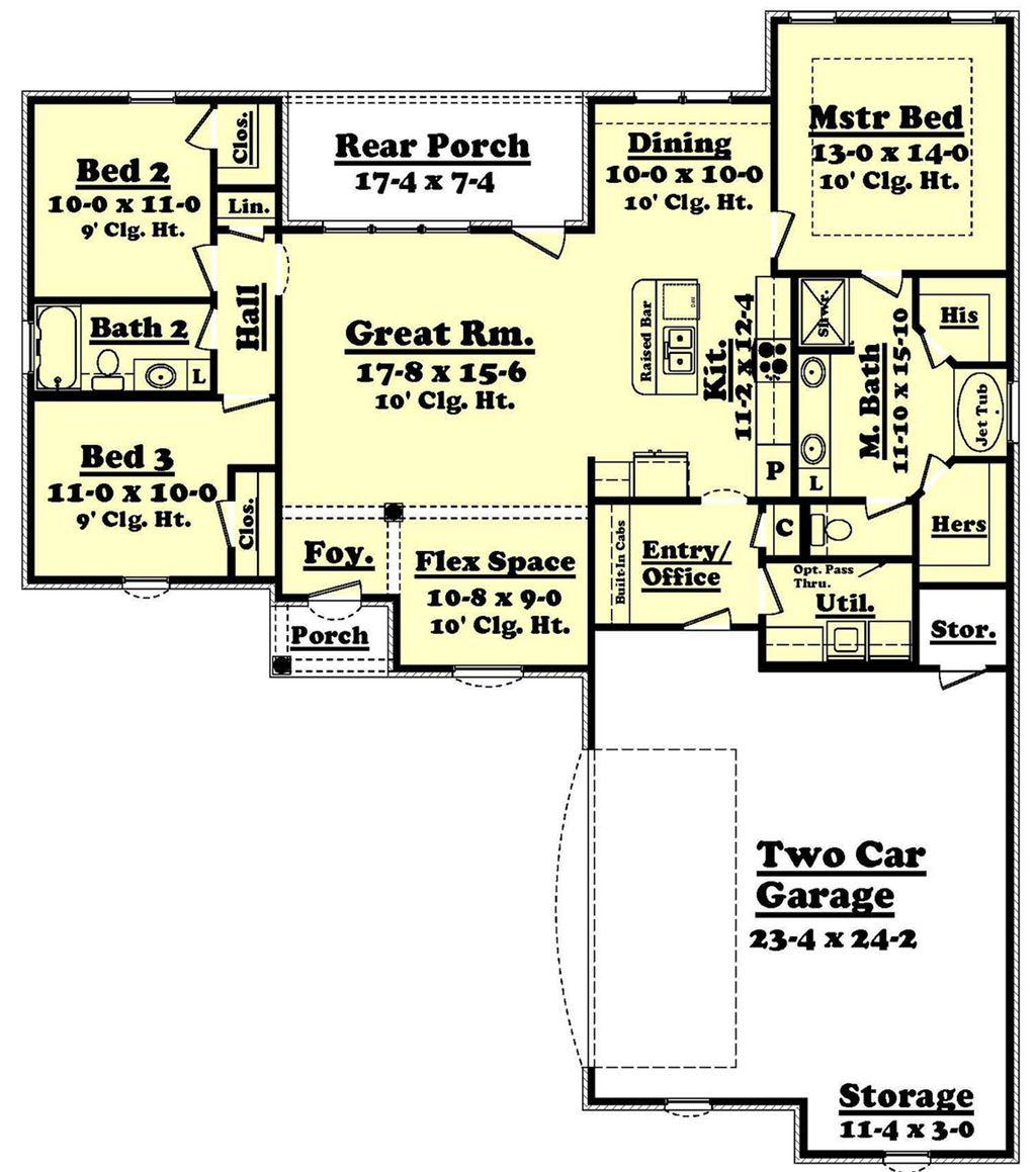 European Style House Plan - 3 Beds 2 Baths 1600 Sq/Ft Plan #430-55 on simple house plans, ranch house plans, open house plans, most popular texas house plans, small house plans, sq ft. house plans,
