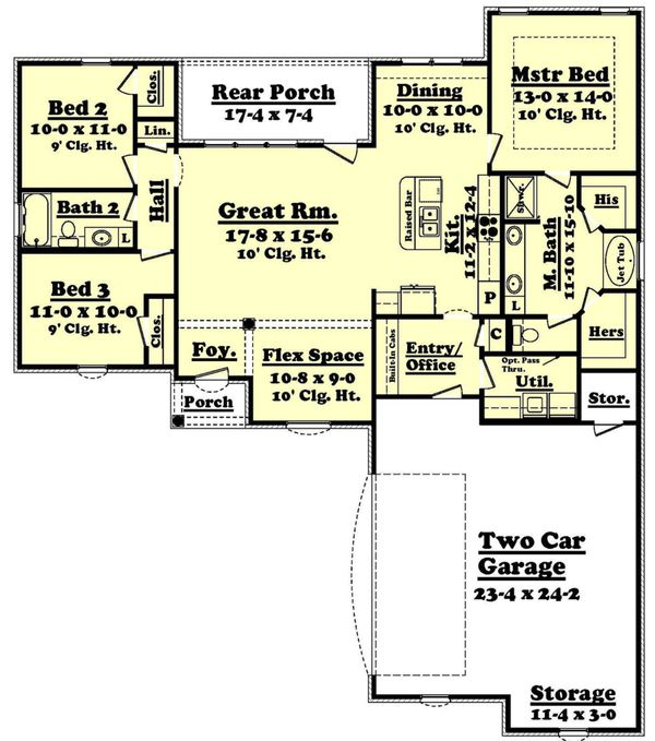 European Floor Plan - Main Floor Plan Plan #430-55
