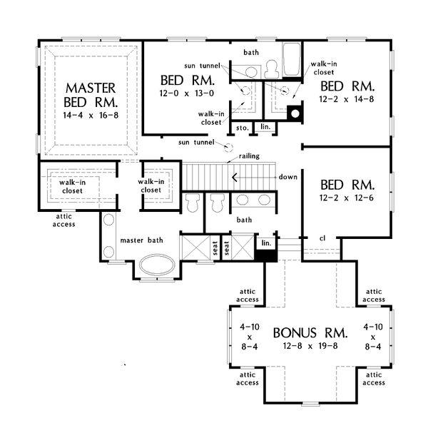 Architectural House Design - Country Floor Plan - Upper Floor Plan #929-1034