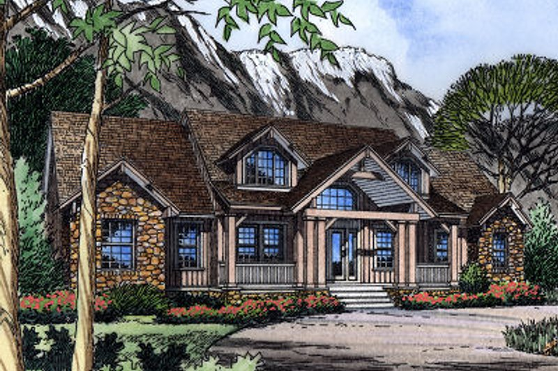 Architectural House Design - European Exterior - Front Elevation Plan #417-391