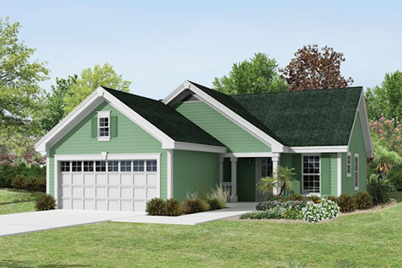 Ranch Exterior - Front Elevation Plan #57-386 - Houseplans.com