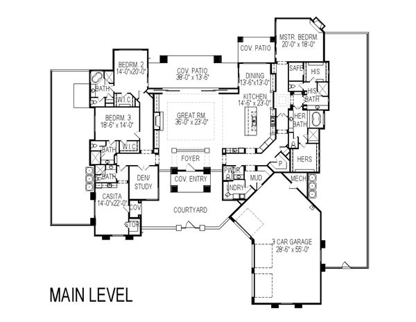 Contemporary Floor Plan - Main Floor Plan Plan #920-73