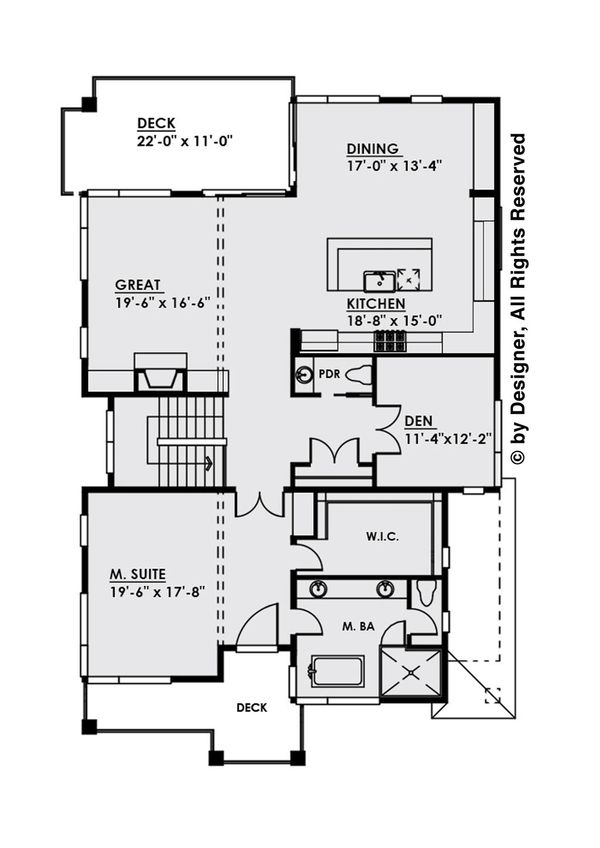 Contemporary Floor Plan - Upper Floor Plan Plan #1066-31