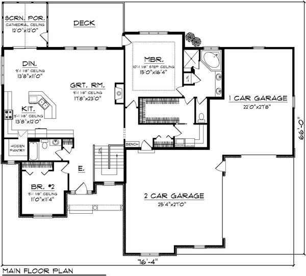 Traditional Floor Plan - Main Floor Plan Plan #70-1084