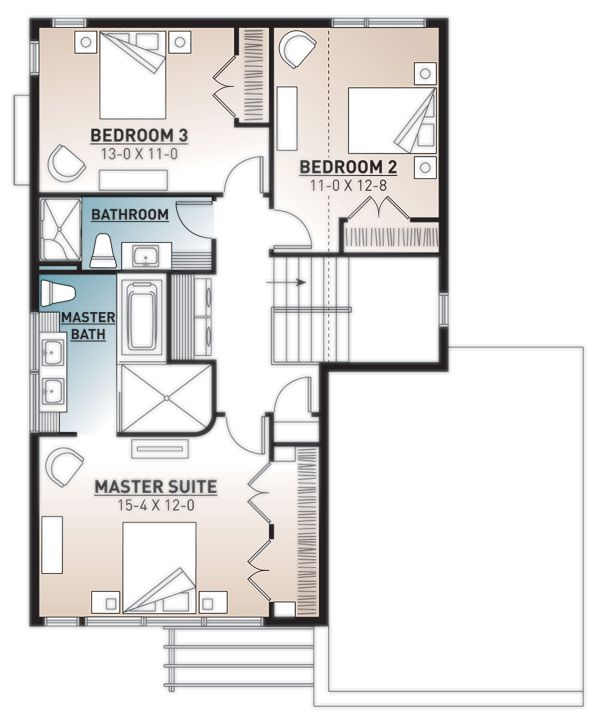 Modern Floor Plan - Upper Floor Plan Plan #23-2700