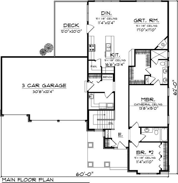 Craftsman Floor Plan - Main Floor Plan Plan #70-1045